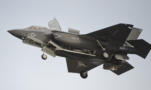 A F-35B Lightning II Joint Strike Fighter prepares to make a vertical landing in Arizona in 2013.