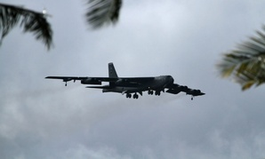 A B-52 Stratofortress strategic bomber conducts a training flight in Hawaii in 2014.