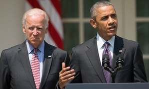 Accompanied by Joe Biden, the president spoke Wednesday from the Rose Garden.