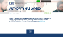 The Export-Import Bank's website clearly explains the situation Wednesday.