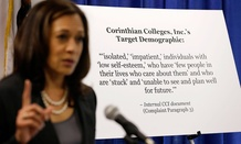 California Attorney General Kamala Harris gestures while standing by a display showing an internal document showing the target demographic of Corinthian Colleges in 2013.