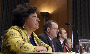 OPM and Homeland Security executives testify June 25. From left to right: OPM Director Katherine Archuleta, OPM CIO Tony Scott, DHS Assistant Secretary for Cybersecurity Andy Ozment, and OPM Inspector General Patrick E. McFarland.