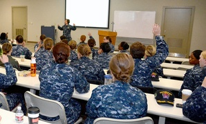 Female Navy officers attend a meeting in April in San Diego.