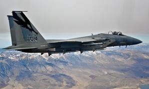 An F-16 flies over California in 2013.