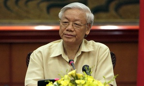 Vietnamese Communist Party General Secretary Nguyen Phu Trong meets with western reporters in Hanoi on July 3.