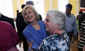 Clinton shakes hands after a town hall event in Dover, N.H., on Thursday.