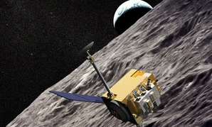An illustration of NASA's Lunar Reconnaissance Orbiter as it makes its way around the moon.