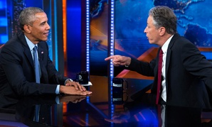 "President Barack Obama, left, talks with Jon Stewart, host of ""The Daily Show"" during a taping on Tuesday, July 21, 2015."
