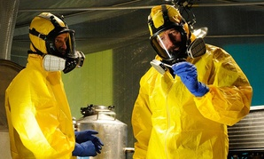 "Jesse Pinkman (left) and Walter White baking meth in the AMC television series ""Breaking Bad."" Rep. Lamar Smith, R-Texas, said of the explosion at the federal facility: ""Even Hollywood couldn't have imagined this plot twist."""