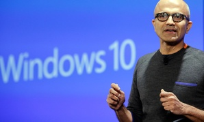 Microsoft CEO Satya Nadella demonstrates new features of new OS Windows 10