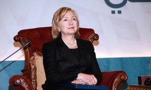 Clinton attends a meeting in Qatar in 2010 as Secretary of State.