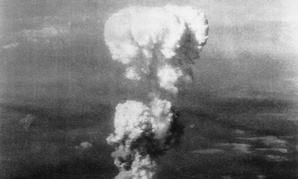 The mushroom cloud over Hiroshima after the bombing was visible for miles.