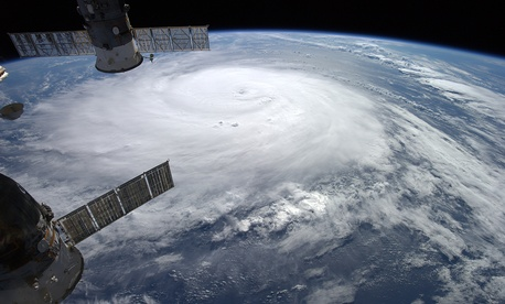 Hurricane Gonzalo looms large as viewed from the International Space Station.