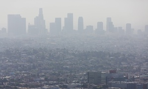Smog over Los Angeles, California.