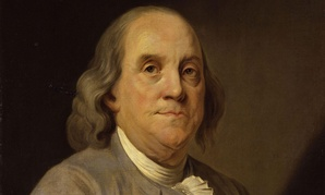 The Joseph Siffrein Duplessis portrait of Benjamin Franklin c. 1785, sits in the Smithsonian's National Portrait Gallery.