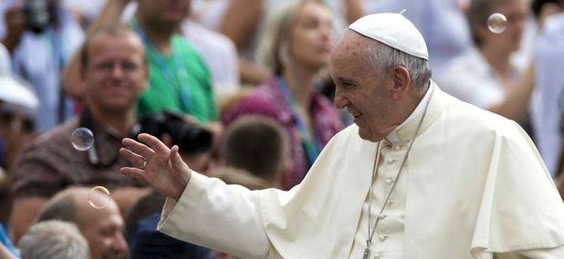 Pope Francis arrives for his weekly general audience at St. Peter's Square at the Vatican on Sept. 2.