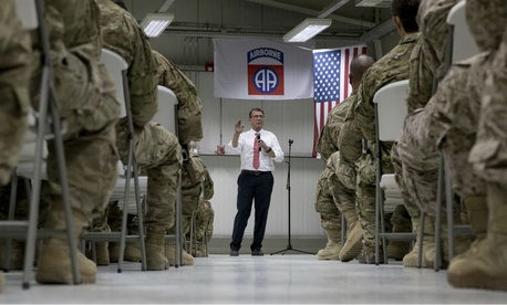 Defense Secretary Ash Carter talks to troops from the 82nd Airborne Division in Baghdad in July.