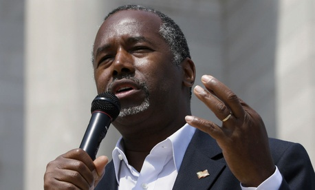 Republican contender Ben Carson speaks at a rally in Little Rock, Ark., in late August.