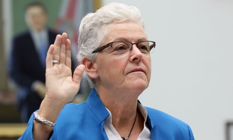 EPA Administrator Gina McCarthy is sworn in before Thursday's hearing on the Colorado spill.
