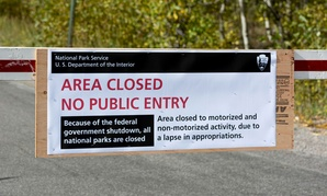 A sign at Grand Tetons National Park informs visitors in 2013.