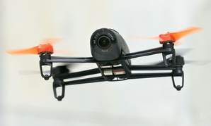 A Parrot Bebop drone flies during a demonstration event in San Francisco.