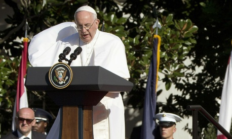 Pope Francis speaks on the south lawn of the White House Wednesday.