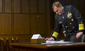 NSA Director Adm. Michael Rogers prepares to testify before the Senate Intelligence Committee.
