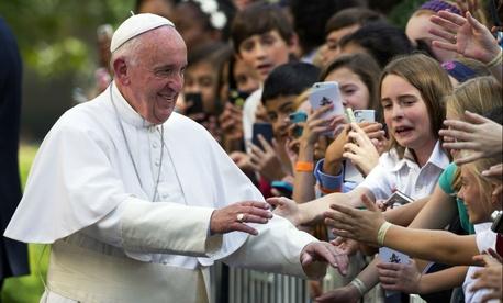 Pope Francis greeting schoolchildren in Washington last week.