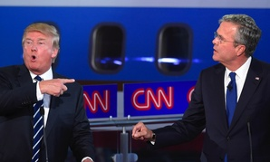 Republican presidential candidates Donald Trump, left, and Jeb Bush, at the CNN GOP debate in Simi Valley, California, on Sept. 16.