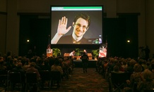 NSA leaker Edward Snowden appears on a live video feed broadcast from Moscow at an event in Hawaii in February.