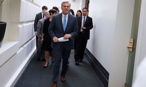 Kevin McCarthy leaves a meeting on Capitol Hill Thursday.