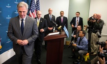 Kevin McCarthy leave a Republican news conference Wednesday on Capitol Hill.