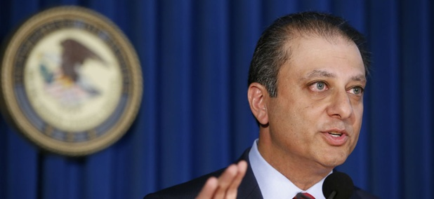 U.S. Attorney Preet Bharara speaks during a press conference at the U.S. Attorney's office in New York last month.