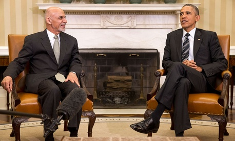 Barack Obama meets with Afghanistan's President Ashraf Ghani in the Oval Office in March.