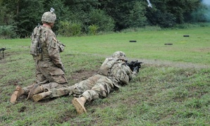 U.S. soldiers conduct team live fire training at Range 17 at the Baumholder maneuver training area in Germany.