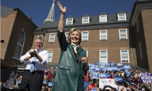 Democratic presidential candidate Hillary Clinton appears at a rally in Old Town Alexandria, Va., with Virginia Gov. Terry McAuliffe.