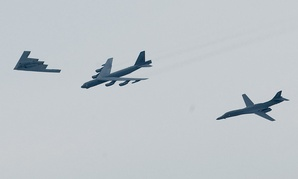 A B-2, B-52, and B-1 fly in formation over Shreveport, La., on May 10 during the Defenders of Liberty Airshow and Open House in 2008.