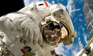 NASA astronaut Piers Sellers conducts a spacewalk in 2006.