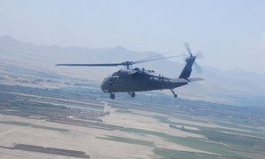 A UH-60 Black Hawk helicopter flies over eastern Afghanistan in 2013.