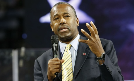 Republican presidential candidate Ben Carson speaks in Lynchburg, Va., on Wednesday.
