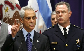 Chicago Mayor Rahm Emanuel, left, and Police Superintendent Garry McCarthy speak at a news conference, Tuesday, Nov. 24, 2015, in Chicago, announcing first-degree murder charges against police officer Jason Van Dyke.