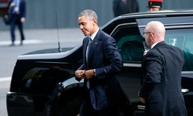 Barack Obama arrives for climate conference outside Paris on Monday.