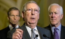 Senate Majority Leader Mitch McConnell (center) and Sens. John Thune and John Cornyn hold a news conference on the Paris attacks and refugees.