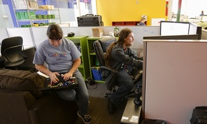 Employees work at Google's newest data center in Council Bluffs, Iowa.