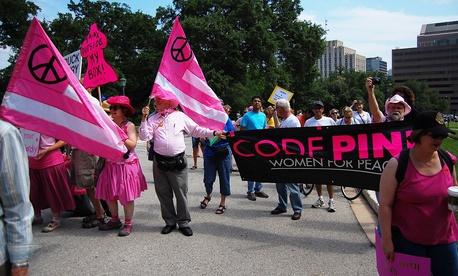 Code Pink members rally in Austin in 20120.