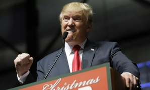 Republican presidential contender Donald Trump, at a campaign rally Monday.