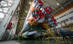 The Soyuz rocket and Soyuz TMA-19M spacecraft, assembled in Baikonur, Kazakhstan.