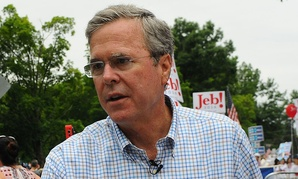 Bush greets supporters in July.