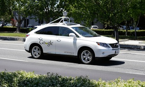 A Google self-driving car goes on a test drive in California in 2014.