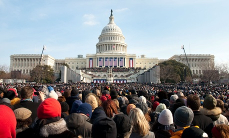 A crowd gathers for President Obama's 2009 inauguration. The transition from George W. Bush to Obama is regarded as one of the smoothest in recent history.